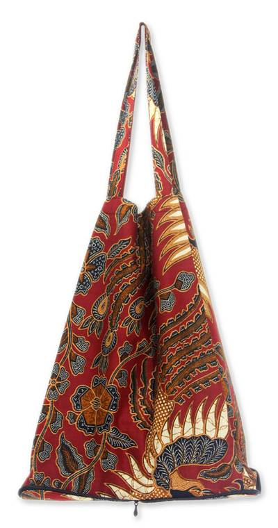 Handcrafted Batik Cotton Shopping Tote Bag