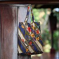 Cotton batik foldable tote bag, 'Jogjakarta Legacy' (Indonesia)