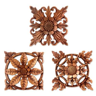 Balinese Hand Carved Wood Floral Relief Panels (Set of 3)