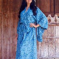 Batik robe, 'Garden of Illusion' - Unique Handcrafted Women's Robe from Indonesia