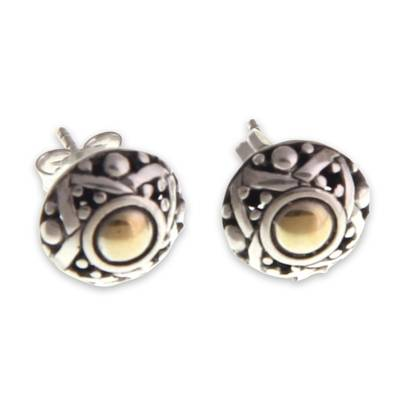 Hand Crafted Gold Accent Button Earrings