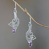 Amethyst flower earrings, 'Balsamina' - Amethyst flower earrings