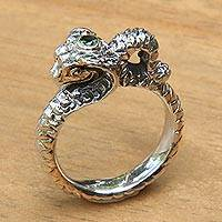 Peridot band ring, 'King Cobra' - Peridot band ring
