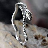 Sterling silver bangle bracelet, 'King Cobra' - Hand Made Sterling Silver Snake Bangle Bracelet