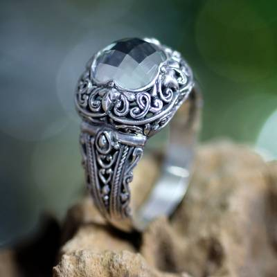 Prasiolite ring, 'Nature's Divinity' - Sterling Silver and Prasiolite Cocktail Ring