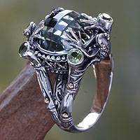 Prasiolite cocktail ring, 'Tropical Frog' - Sterling Silver and Prasiolite Cocktail Ring from Indonesia