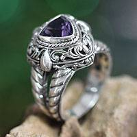 Amethyst cocktail ring, 'Sorceress' - Handmade Sterling Silver and Amethyst Cocktail Ring