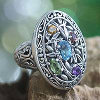 Featured review for Blue topaz and peridot cocktail ring, Bamboo Blossoms