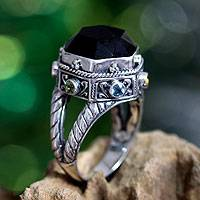 Onyx and peridot domed ring, 'Night Temple' - Unique Sterling Silver and Onyx Ring from Indonesia
