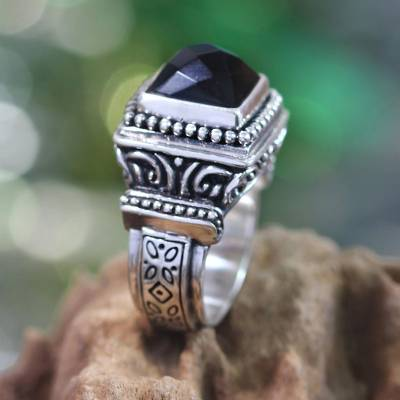 Onyx cocktail ring, 'Midnight Temple' - Onyx and Sterling Silver Cocktail Ring