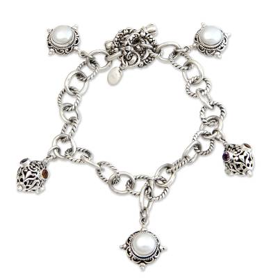 Handcrafted Sterling Silver and Pearl Charm Bracelet