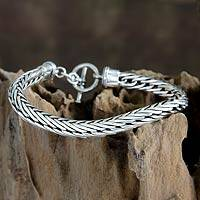 Men's sterling silver bracelet, 'Silver Serpent' (Indonesia)