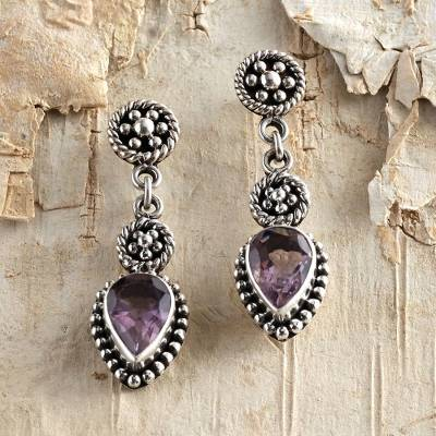 Amethyst dangle earrings, 'Balinese Jackfruit' - Sterling Silver and Amethyst Dangle Earrings