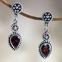 Garnet dangle earrings, 'Balinese Jackfruit' - Hand Made Sterling Silver and Garnet Dangle Earrings