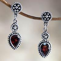 Garnet dangle earrings, 'Balinese Jackfruit'