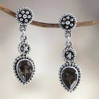 Smoky quartz dangle earrings, 'Balinese Jackfruit' - Unique Sterling Silver and Smoky Quartz Earrings