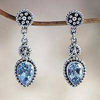 Blue topaz dangle earrings, 'Balinese Jackfruit' - Blue Topaz and Sterling Silver Dangle Earrings