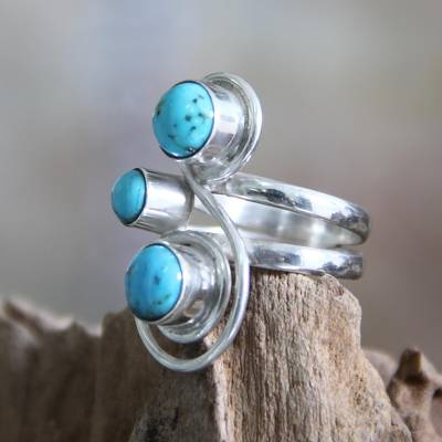 silver bead necklace 16 - Silver and Reconstituted Turquoise Ring