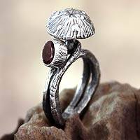 Garnet cocktail ring, 'Forest Mushroom' - Garnet cocktail ring