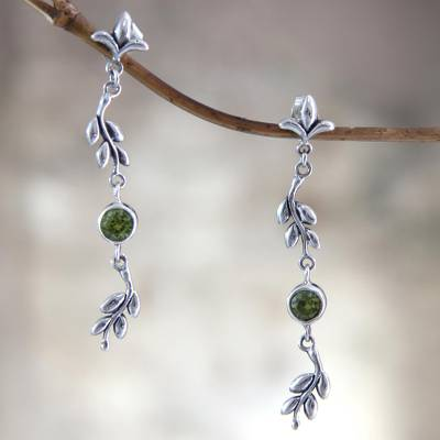 Peridot dangle earrings, 'A New Leaf' - Sterling Silver and Peridot Dangle Earrings