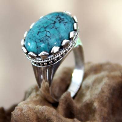 Reconstituted Turquoise and Sterling Silver Ring
