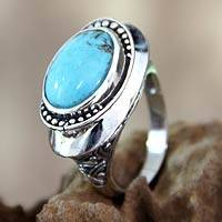 Sterling silver cocktail ring, 'Bali Blue' - Unique Reconstituted Turquoise and Sterling Silver Ring