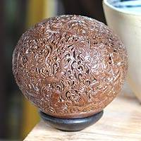 Coconut shell sculpture, 'Good Demon Boma' - Coconut shell sculpture