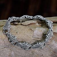 Men's sterling silver link bracelet, 'Tropical Crocodile' - Men's Sterling Silver Link Bracelet