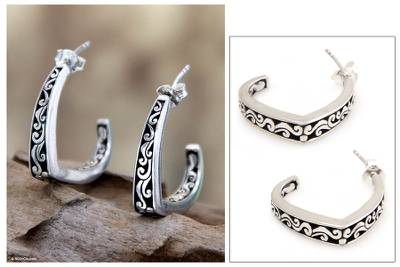 Sterling silver half hoop earrings, 'Royal Bali' - Handcrafted Sterling Silver Half Hoop Earrings