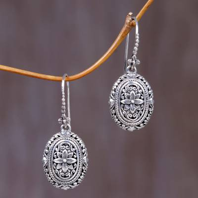 Sterling silver flower earrings, 'Pura Lotus' - Indonesian Sterling Silver Dangle Earrings