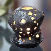 Ceramic candleholder Charcoal Java Cactus Indonesia