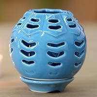 Ceramic candleholder Blue Origami Bowl Indonesia
