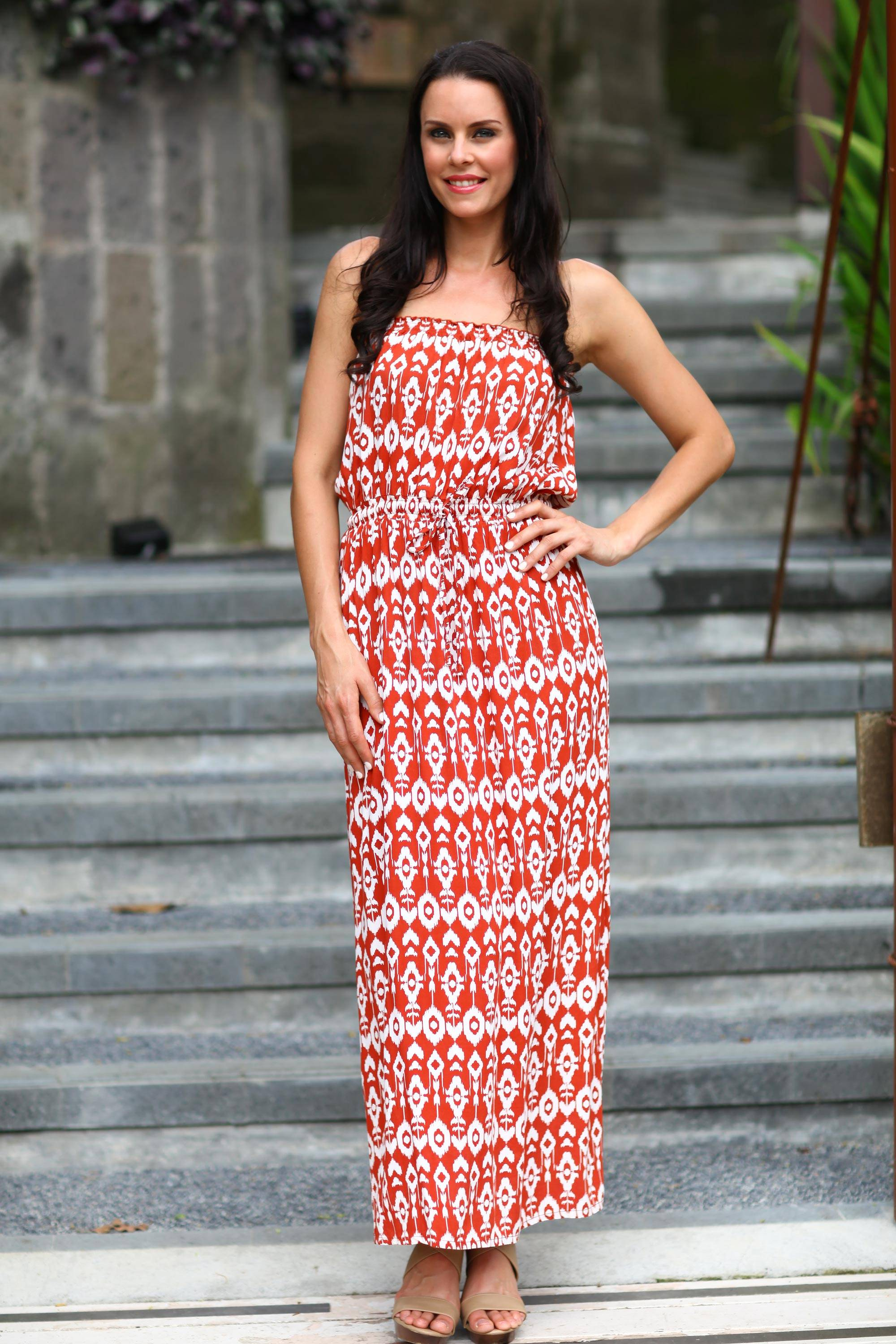 Handcrafted Women's Batik Patterned Maxi Dress, 'Tulip' - my favorite type of summer dress! Orange Red White spaghetti straps