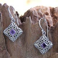 Amethyst flower earrings, 'Batuan Garden' - Amethyst flower earrings