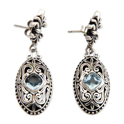 Blue Topaz and Sterling Silver Dangle Earrings