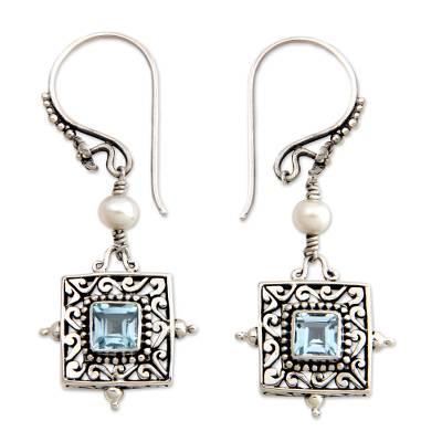 Blue Topaz and Pearl Silver Dangle Earrings