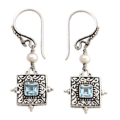 Blue Topaz and Pearl Silver Dangle Earrings