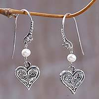 Cultured pearl heart earrings, 'Love in Nature' - Indonesian Heart-Shaped Dangle Earrings in Silver and Pearl