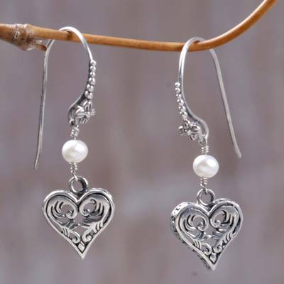 Cultured pearl heart earrings, 'Love in Nature' - Silver and Pearl Heart Earrings