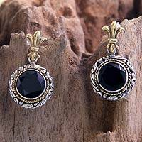 Gold accent onyx dangle earrings, 'Bali Glam' - Hand Made Indonesian Onyx and Silver Dangle Earrings