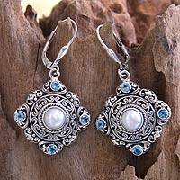 Cultured pearl and blue topaz dangle earrings, 'Mahameru' - Handmade Pearl and Blue Topaz Silver Earrings