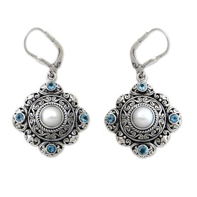 Handmade Pearl and Blue Topaz Silver Earrings