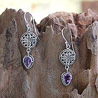 Amethyst dangle earrings, 'Kintamani' - Sterling Silver and Amethyst Dangle Earrings