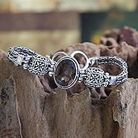 Smoky quartz pendant bracelet,