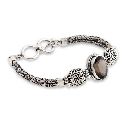 Smoky quartz pendant bracelet