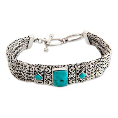 Sterling Silver and Reconstituted Turquoise Bracelet