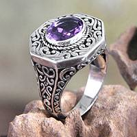 Amethyst cocktail ring, 'Mystic Wisdom' - Hand Crafted Amethyst and Silver Cocktail Ring