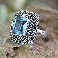Blue topaz cocktail ring, 'Java Skies' - Blue Topaz and Sterling Silver Cocktail Ring