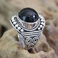 Onyx cocktail ring, 'Immortal Night' - Unique Onyx and Silver Cocktail Ring from Indonesia