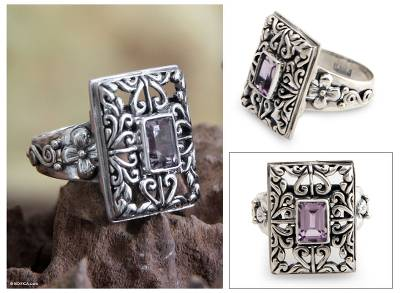 om ring silver emerald management - Sterling Silver and Amethyst Cocktail Ring